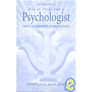 How to Think Like a...,McBurney, Donald H.,9780130150462