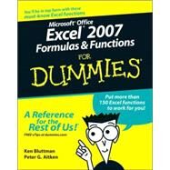 Microsoft Office Excel 2007 Formulas and Functions For Dummies by Bluttman, Ken; Aitken, Peter G., 9780470046555